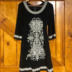 Black, embroidered, long-sleeve dress